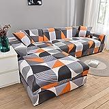 MKQB Funda de sofá geométrica Arena, Funda de sofá elástica elástica para Sala de Estar, Funda de sofá Modular de Esquina en Forma de L n. ° 6 4seat-XL- (235-300cm)