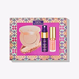 Tarte Cosmetics Effortless Essentials Color Collection 3 Piece Travel Set Lip Paint Skin Mist and Highlighter Mini Travel Size