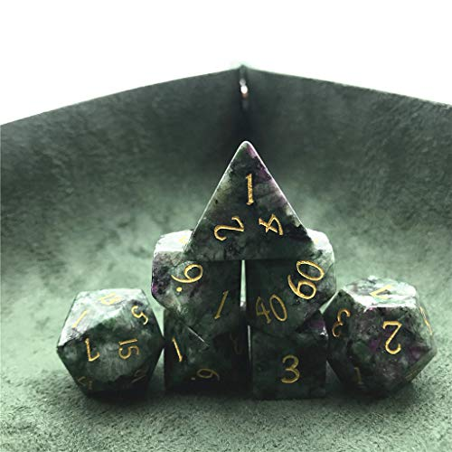 Momostar Set of 7 Stone Dice for RPG,Dungeons & Dragons Dices Handmade by Natural Gemstones. (Font A Ruby in Zoisite)