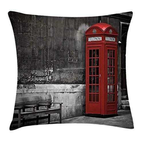huibe Pillowslip Funda de cojín Famosa Bota británica para teléfono en Las Calles de Londres Icono Importante de la Ciudad Vida Urbana Decoración fotográfica Funda de Almohada 45x45 cm Rojo Gris