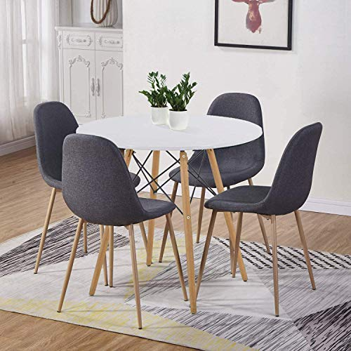 GOLDFAN Runder Esstisch mit 4 Stühlen Moderner Matt Lackierter Wohnzimmertisch Rund Holz für Küche Esszimmer Büro, Navy blau