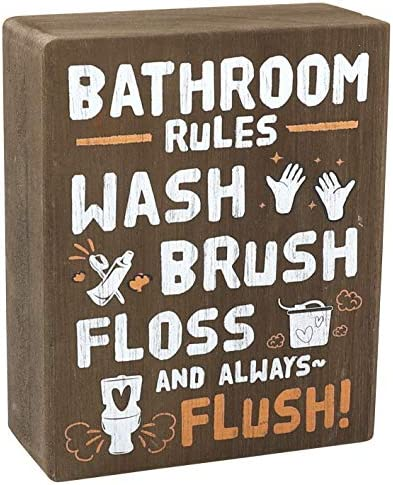 whoaon Rustic Wood Box Sign Bathroom Rules Wash Brush Floss and Always Flush Real Solid Wood product image