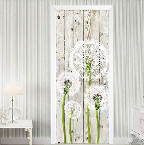 ZPCR Door Sticker Modern Wood Board Dandelion 3D Mural Wallpaper Living Room Bedroom Home Decor Wall Sticker PVC Waterproof Wallpaper