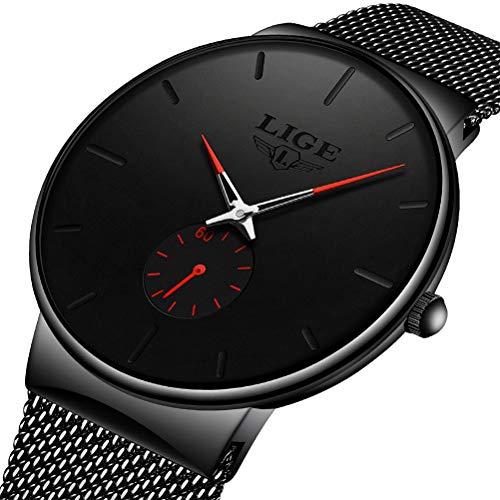 LIGE Herren Uhren Minimalistischen Wasserdicht Männer Armbanduhr Mode Elegant Geschäft Schwarz Quarz Herrenuhr für Mann mit Edelstahl Mesh Armband