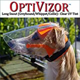 Optivizor Clear UV Medical/Preventative Eye Protection (Goggles/Sunglasses) for Dogs - Long Snout Version (Whippets, Greyhounds, Collies)- Size Small (11-26lbs)