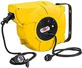 Brennenstuhl Enrollacables eléctrico IP44, enrollador de cable automático para exteriores, 16+2m de cable, montable, para montaje en pared, IP44, amarillo