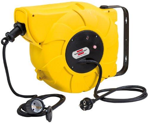 Brennenstuhl Kabeltrommel Automatik IP44 / Automatischer Kabelaufroller für aussen (16+2m Kabel, für Wand- und Deckenmontage, IP44) gelb