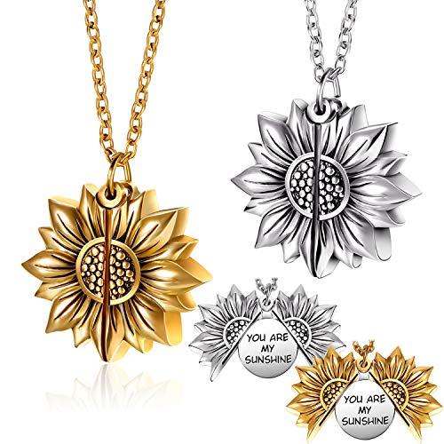 2 Piezas Collares de Medallón de You Are My Sunshine Collar Colgante de Medallón Abierto Grabado de Girasol
