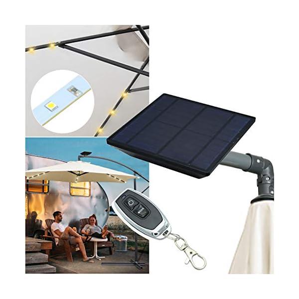 wolketon Alu Ampelschirmmit Solar LED Beleuchtung UV-Schutz 30+ Wasserabweisende Bespannung - Sonnenschirm Schirm…