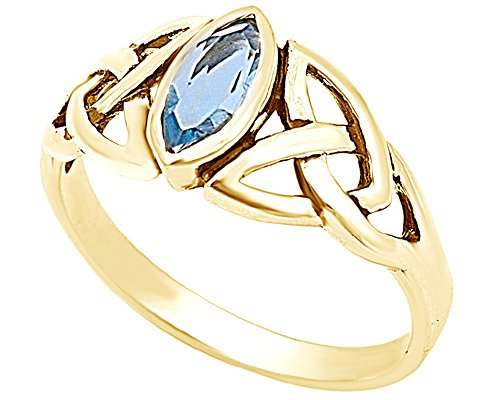 Jewel Zone US Marquise Cut Simulated Blue Aquamarine Celtic Design Ring in 14k Gold Over Sterling Silver