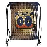 Fevthmii Drawstring Backpacks Bags,70s Party Decorations,Audiocassette Retro Music Theme Pop Art Vintage Obsolete Fun Decorative,Brown Black Orange Soft Satin,5 Liter Capacity,Adjustable St