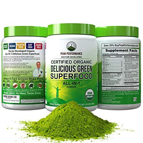 Peak Performance Organic Greens Superfood Powder. Best Tasting Organic Green Juice Vegan Super Food with 25+ All Natural Ingredients for Max Energy and Detox. Spirulina, Spinach, Kale, Probiotics