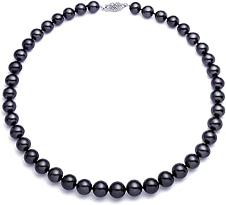 14k Gold Black Freshwater Cultured Pearl Necklace for Women AAAA Quality (6.5-7mm) - PremiumPearl
