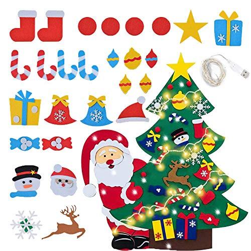 DIY Albero di Natale in Feltro,Albero di Natale in Feltro con Addobbi, Albero di Natale in Feltro con Luci,Feltro Decorativo Fai da Te Ornamenti,Albero di Natale in Feltro per Bambini