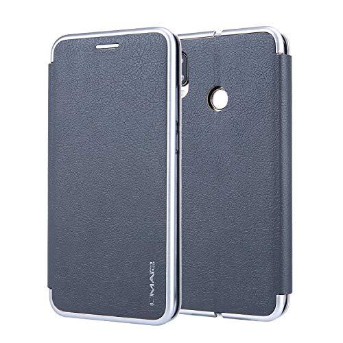 Funda de piel sintética con tapa para teléfono con soporte para tarjetas, funda protectora compatible con Huawei P20 Lite/Nova 3E. (color: gris)