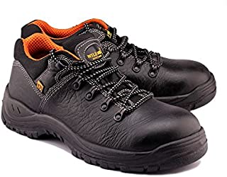 Wild Bull Safety Shoes with Steel Toe for Men Protector Mid Ankle Length Black