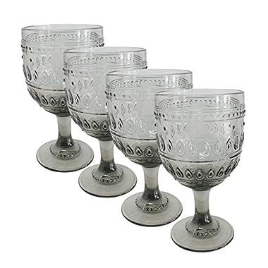 Euro Ceramica Fez Glassware Collection Wine/Water Goblet Glasses, 12oz, Set of 4, Gray