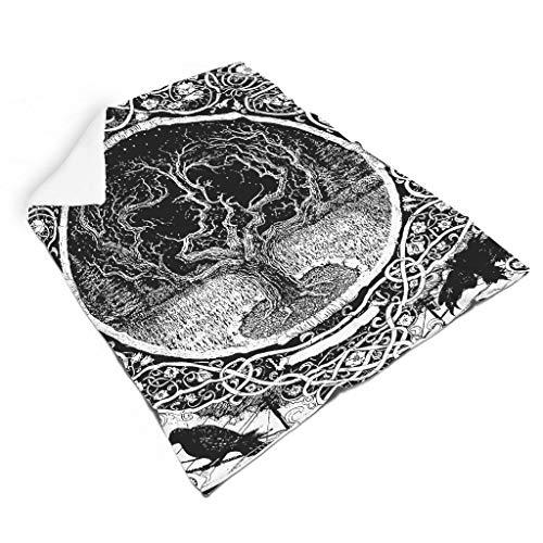 Magiböes Manta de franela vikinga con árbol de la vida, celta, Odin y cuervo impreso, para regalo, decoración del hogar, color blanco, 110 x 140 cm