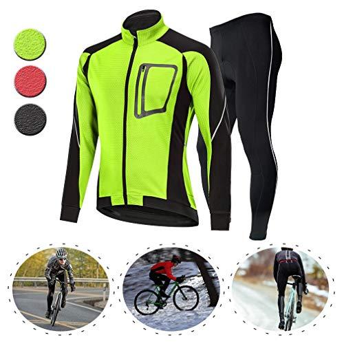 YILIFA Heren Fietsen Jersey pak Winter Gevoerd, Mountainbike Road Fiets Fietsen Jakcet Outfit,Ademende Fiets Suit