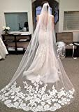 VEECOME White Ivory Lace Edge Cathedral Length Wedding Bridal Veil+Comb Stylish