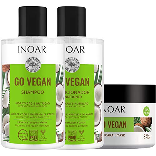 Kit Shampoo e Condicionador 2x300ml + Máscara 250g Go Vegan Hidratação e Nutrição Inoar
