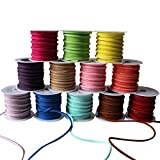Curtzy Suede Cord (12 Pack) - 3m Roll Faux Suede Beading Thread with Assorted Colours - Suede Lace with 3mm Thickness for Bracelet, Necklace, DIY Crafts, Jewellery Making and Gift Making