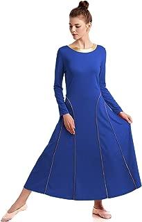 MYRISAM Adults Women Praise Seamed Dance Robe Worship Dress Long Sleeve Gold Metallic Liturgical Full Length Dancewear
