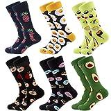 Calcetines coloridos para hombre – calcetines de vestir de algodón con diseño innovador, estilo informal, 6 pares Comida y frutas Talla única