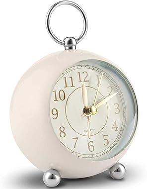 Horloge de chevet silencieuse Horloge de table Horloge de bureau sans coutil Réveil Chambre en métal Réveils vintage silencie