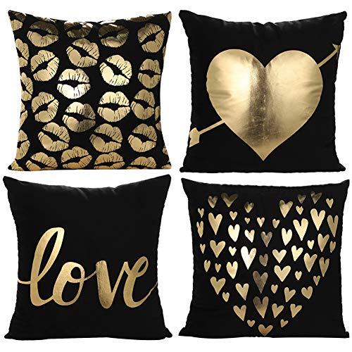 JOTOM Kissenbezug Weiche Gold Heißprägen Herz Liebe Kuss Kissen Cover für Bett Sofa Wohnzimmer Schlafzimmer 45 x 45 cm 4er Set (Love in Black)