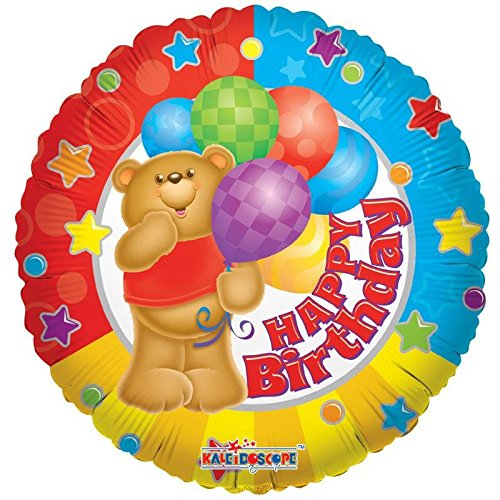 Suki Gifts S9017466 Teddy Ballon gonflable avec ballons Happy Birthday Multicolore