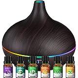 500ML Diffusore di Oli Essenziali con 6x10ml Oli Essenziali Inclusi, 23dB Diffusore di Aromi con 14 colori LED, Diffusore Ambiente Fino a 15 Ore, Diffusore Umidificatore per Yoga, Senza BPA,Black