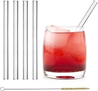 HALM Glas Strohhalme Wiederverwendbar Glastrinkhalme - 4 Stück kurz gerade 15 cm  plastikfreie Reinigungsbürste
