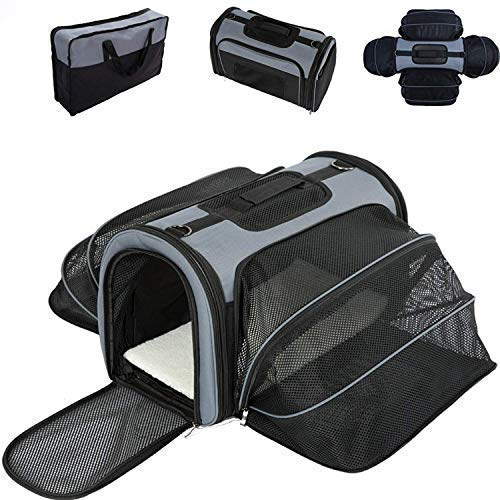 Smiling Paws Pets 4 Way Expandable Soft Sided Airline Approved Pet Carrier for Cats and Dogs |...