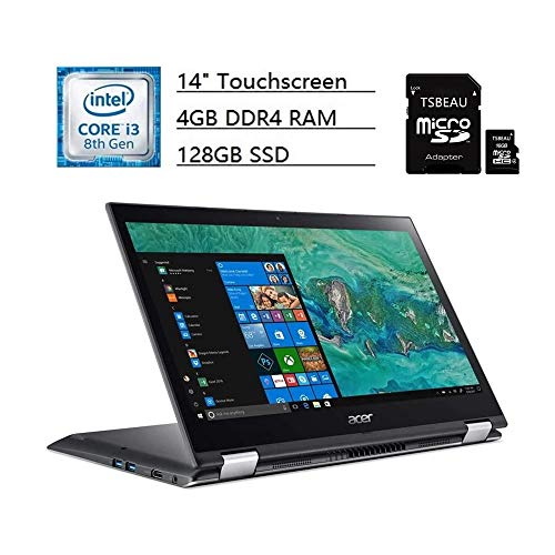 "Acer Spin 3 14"" Touchscreen LCD, Convertible 2 in 1 Notebook, Intel Core i3-8130U Dual-core (2 Core) 2.20 GHz, 4GB DDR4 RAM, 128GB SSD, Windows 10 Home, Steel Gray + TSBEAU 16GB Micro SD Card"