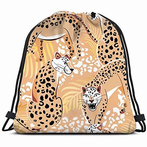 wallxxj Drawstring Bags Leoparden Safari Stil Zusammensetzung Tiere Tierwelt Leichter Druck Gemütlich Langlebiger Druck Cinch Taschen Kordelzug Rucksack Casual Adult Rucksack Umhängetasche