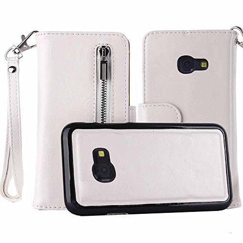 Galaxy A5 2017 Hülle, COOSTOREEU Premium PU Leder Zipper Wallet Flip Seite mit Handschlaufe 2 in 1 Abnehmbarer Koffer mit 5 Kartenfächern für Samsung Galaxy A5 2017,Weiß