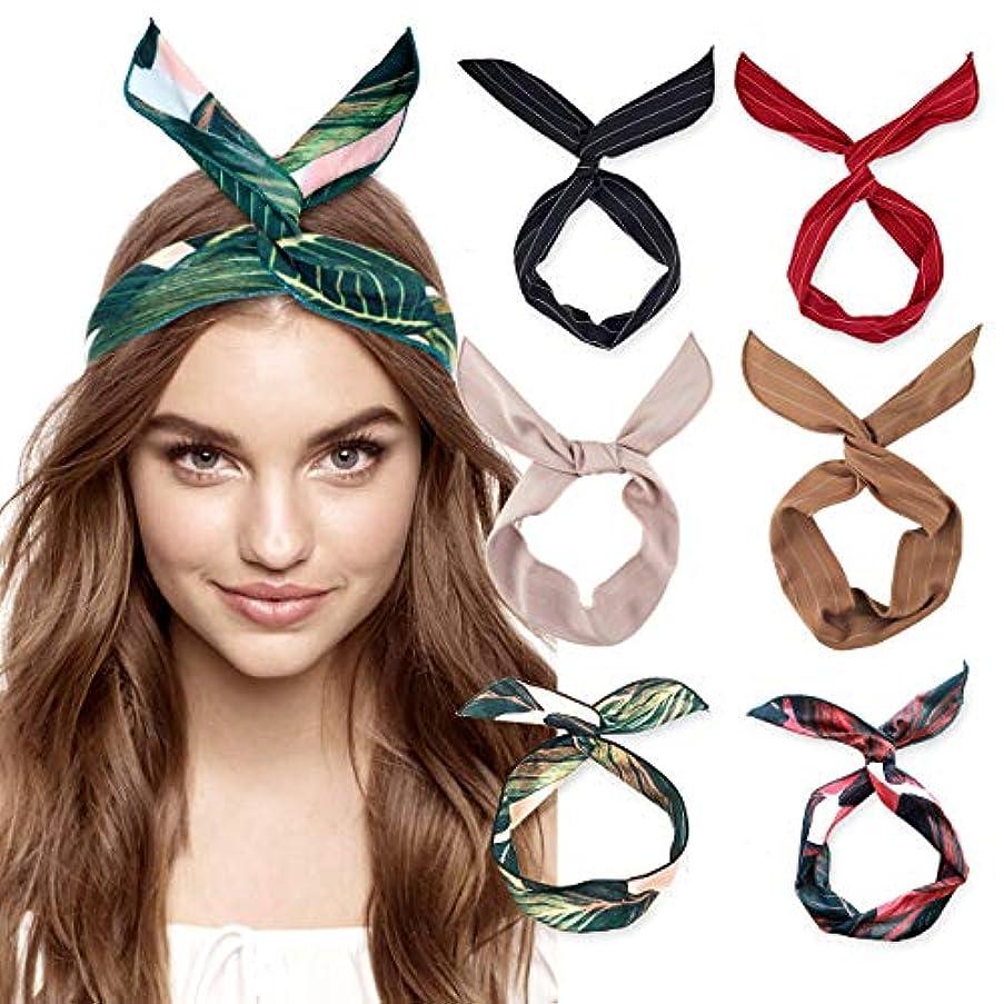DRESHOW Bow Knotted Flower Headband Boho Floral Hair Band Facial Head Wrap Terry Cloth Yoga Sport Shower Headband 6 Pack