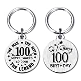 DEGASKEN Happy 100th Birthday Gift Ideas for Men, 100 Never Looked So Good, Vintage 100 Year Old Age Male Funny Keychain