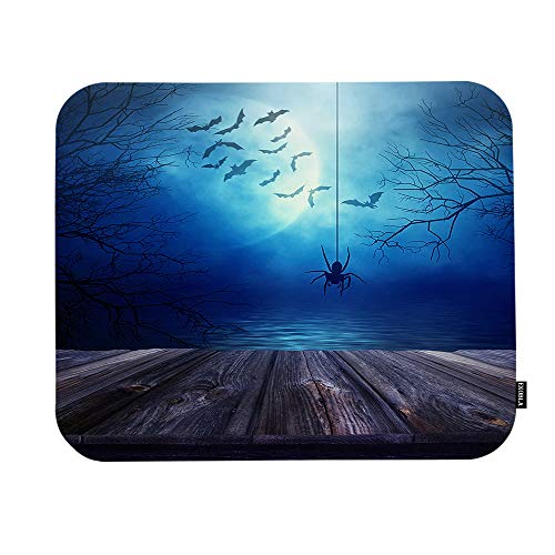 EKOBLA Horror Bats Flying Around The Moon Mouse Pad Evil Spider Spooky Forest Wooden Floor Lake Gaming Mouse Mat Non-Slip Rubber Base Thick Mousepad for Laptop Computer PC 9.5x7.9 Inch