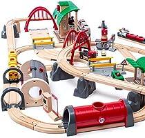 BRIO World 33052 Deluxe Railway Set | Tågset Järnväg Deluxe. 87 delar. Leksakståg med tillbehör och skenor i trä för...