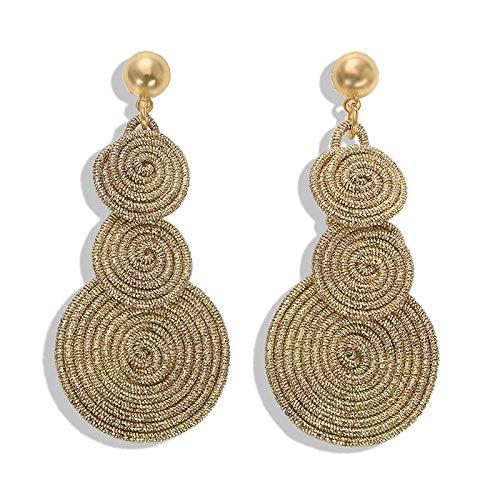 Gymqian Anillos de Oreja Tejidos a Mano Pendientes de Forma Espiral Pendientes con Forma de Gota Retro Pendientes de Perlas Imitadas para Mujeres Retro/D