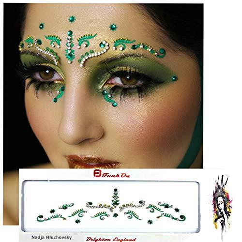 FunkOn® Green/Silver Bridal Bindi/Bollywood Costume/Face Art Gems Set/Brow Jewels/Tikka Indian Wedding Diamante/Glitter Crystal Face Gem Makeup for Festivals/Stick on Face BodyTattoo/BBDGR
