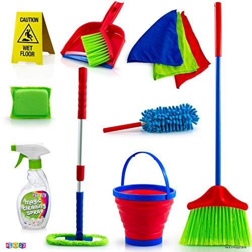 Kids Cleaning Set 12 Piece - Toy Cleaning Set Includes Broom Mop Brush Dust Pan Duster Sponge Clothes Spray Bucket...