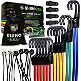 RHINO USA Bungee Cords with Hooks - Heavy Duty 28pc Assortment with 4 Free Tarp Clips, Drawstring Organizer Bag, Canopy Ties & Ball Bungees - Unlimited (Bungee Cord Set)