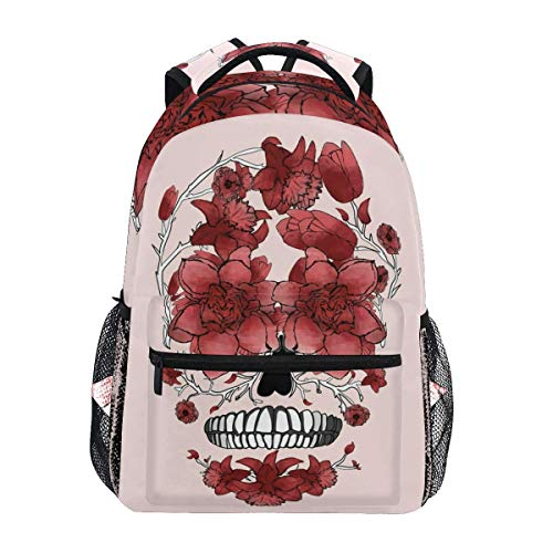 Daypack Day of The Dead Skull Flower Durable Shoulder Bag Bookbag Travel Casual Student College Printed Gift Unique School Lightweight Backpack Stylish