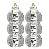 HANSA-FARM 100% Lana de Alpaca en más de 50 Colores (no Pica) - Set de 300g (6X 50g) - Suave Hilo Baby de Alpaca para Punto y Ganchillo en 6 grosores Gris Claro
