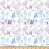 Disney Frozen 2 Frozen Character Silhouette White Fabric by the Yard