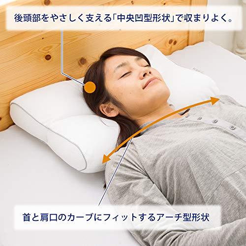 【Amazon.co.jp限定】東京西川枕高さ(低め)医師がすすめる健康枕肩楽寝洗える高さ調節可能首と肩にフィットするアーチ形状ホワイトEH98052512L