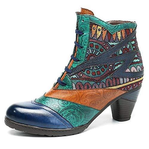 Socofy Bohemian Splicing Pattern Block Zipper Ankle Leather Boots - Dark Blue - 9